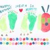 誕生日のお祝いしました( ¨̮⋆)!はらぺこあおむしの足型も♥️