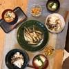 きのこごはん、はたはた、豆腐と小松菜の味噌汁、切り干し大根の中華サラダ