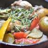 鶏手羽元と夏野菜の煮込み、タイム風味