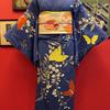 青色地蝶と藤訪問着付け下げ×白地芥子昼夜帯