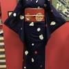 紫色地水玉紗小紋×赤地夏椿刺繍八寸帯