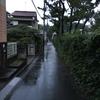 稲毛①-小雨降る道