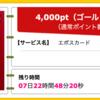 【ハピタス】 エポスカードが期間限定4,000pt(4,000円)! 年会費無料! ショッピング条件なし! さらに2,000円分ポイントプレゼントも♪