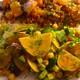 焼いたコバンアジに黒豆のチリ煮込み添え、黄金ビーツのピクルスのサラダ、古代小麦のサラダ添え