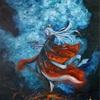 海底火山神としてのイザナミを描いた油彩画