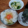 卵ご飯と海苔と白菜の漬け物