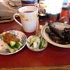 築地の「米花」で鯖の味噌煮、松茸ご飯。