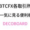 BTCFX各取引所板を一気に見る便利機能DECOBOARD、初心者が勝てるようになるまで~