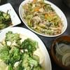 野菜炒め、ブロッコリー豆腐あんかけ、スープ
