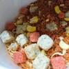 「バジル謎肉」って何?カップヌードルイタリアンチリトマト味。トマト感がいいね。