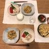 納豆チャーハン、ネギ塩とり肉とトマトとアスパラ