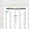 【無料プリント】日常英会話でよく使うよく聞く英語の形容詞一覧!