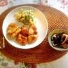 唐揚げ、烏賊と茄子、マカロニサラダ