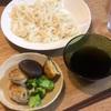 半田麺、しいたけの肉詰め、れんこんのはさみ焼き、ブロッコリー