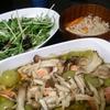 アヒージョ、水菜サラダ、スープ