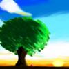 朝日と木とぷちゴン(Photoshop)|ぷちゴン
