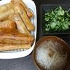 きゅうりとワカメの酢の物、春巻、スープ