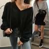 韓国ファッション レディース スウェット トレーナー Vネック バルーンスリーブ ボリューム袖