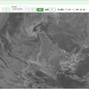 満月沈む朝 & 地球の渦 北海道西岸小低気圧