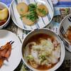 夕食:白菜の煮びたしなど