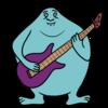 楽器(ベース)の演奏をするかわいい宇宙人 のイラスト