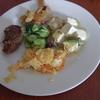 幸運な病のレシピ( 1021 )昼:手羽先悪魔風(白ワイン+醤油)、ポテトオムレツ、クリーム煮グラタン