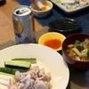 ごはん、冷しゃぶと野菜、野菜と油揚げの味噌汁