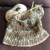 イギリスゴム編みの腹巻き帽子、途中経過