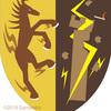 雷馬の紋章、塔に落雷。