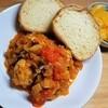 鶏むね肉の自家製バジルソーセージトマト煮の作り方。