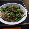 幸運な病のレシピ( 1627 )朝:空芯菜・レタスの炒め、塩鱒、レバー、味噌汁