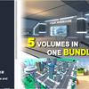 3D Package Bundle 01 ローポリの街、オフィス、バーチャル展示スペース3つ、計5点入った3Dモデルパック