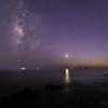 【天体撮影記 第168夜】 長崎県 大野浜海浜公園から宵の明星と天の川が輝く美しい黄昏時に