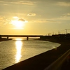 綾羅木新町で日没