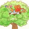木の上でティータイム