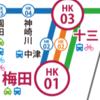 阪急電車〜梅田から十三(じゅうそう)駅の間で