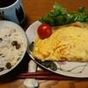 お昼ごはんは初物のムカゴご飯とオムレツ