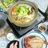 鶏団子鍋、金目鯛の開きで晩酌(実家)