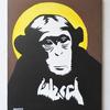 ステンシルを使ったチンパンジーの絵を額装して販売開始しました