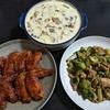 手羽先の甘辛焼き&ブロッコリーと豚肉のカレーマヨ炒め&小田巻蒸し(うどん入り茶碗蒸し)