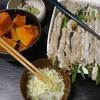 アスパラ豚巻き、かぼちゃ煮物、味噌汁