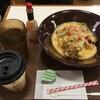 アスパラチーズドリ牛並とホットコーヒー  タバスコたっぷりとかけていただきました。 (@ すき家 池袋サンシャイン前店 - @sukiya_jp in 豊島区, 東京都)
