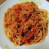 余り物スパゲッティ / 栄養スープの残りでボロネーゼ風