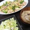 回鍋肉、白菜サラダ、味噌汁