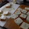 幸運な病のレシピ( 1319 )昼:サンドイッチ(ポテトサラダ・ハムチーズ・レタス・キュウリ・カイワレ)
