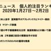 野球ニュース 個人的注目ランキング 2020年1月27日~2月2日