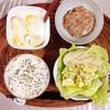 ポテトサラダ、小粒納豆、バナナヨーグルト。