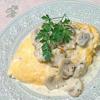 ❥豆腐オムレツ(マッシュルームクリームソース)~牛乳~