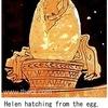 はくちょう座2 ジュピター(ゼウス)は欲望にかられて,ネメシスへ恋心を抱きます. 彼は,ビーナス(アプロディーテー)に命じて鷲の姿にさせます.  彼自身は白鳥に姿を変え,あたかも鷲から逃げて飛び,ネメシスのところへ逃げて,下半身に降り立ちました.ネメシスは,あたかも鳥の一族と結婚したように,臨月になると卵を生みました. ヘルメースは,卵を持ち出し,スパルタまで運んでいき,レーダーの下半身に投げ入れました.偽ヒュギーヌス「天文詩」