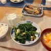 ごはん、鮭、ほうれん草炒め、人参と卵の春雨スープ
